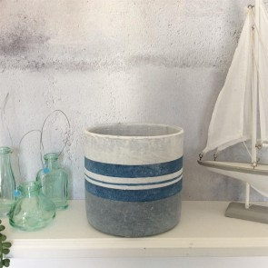 Nautical Striped Plant Pot