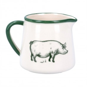 Ceramic Jug Small - Green/White Farmyard