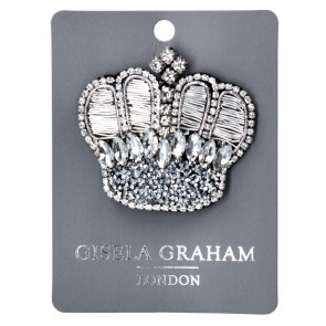 Jewelled Brooch 7cm - Silver Crown