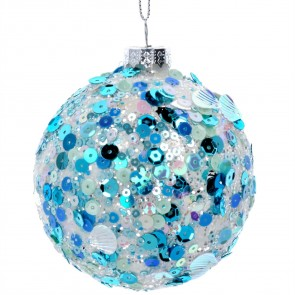 Glass Bauble 8cm - Clear/Blue Sequin