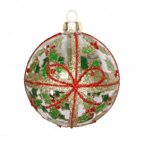 Glass Bauble 8cm - Clear/Glitter Bow & Holly