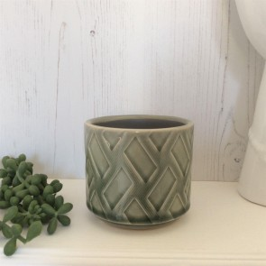 Green Zig Zag Ceramic Pot Cover - Mini
