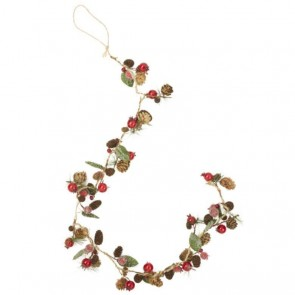 Mini Cone & Red Berry Christmas Garland