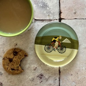 Glass Cyclist Coaster