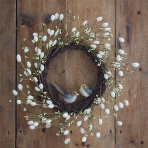 Pussy Willow Wreath with Feather Birds