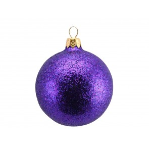 Glass Bauble 7cm - Purple/Glitter