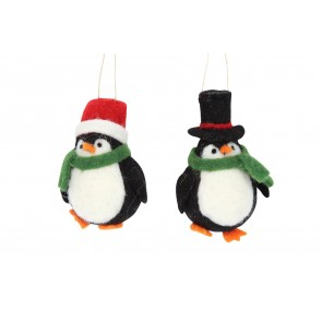 Set of Wool Decorations 10cm - Penguins in Hats