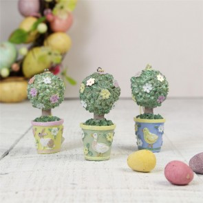 Spring Garden Resin Topiary Tree Decorations - Set of Three