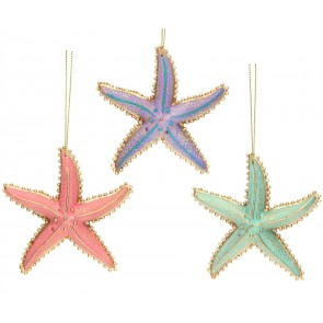 Set of 3 Resin Decorations 9cm - Pastel Starfish