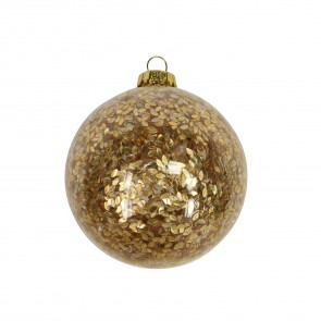 Clear Glass Bauble With Confetti
