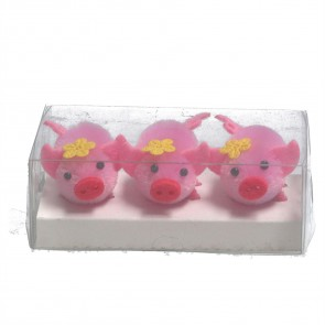 Box of 3 Pink Chenille Pig Dec