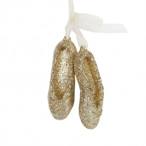 Acrylic Decoration 6cm - Gold Glitter Ballet Shoes