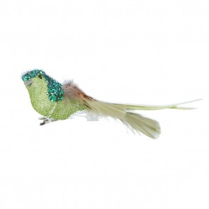 Clip on Bird 15cm - Two Tone Green Glitter/Feather
