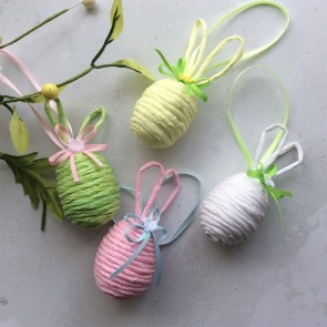 Pastel String Easter Egg Decorations with Bunny Ears - Set of Four