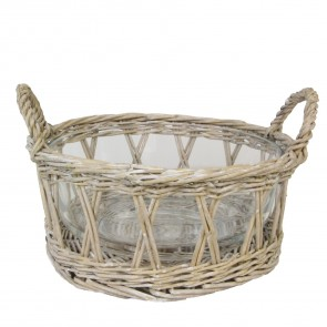 Natural Willow Basket with Glass Bowl - Medium