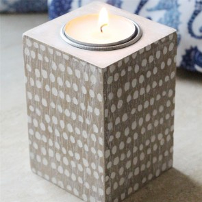 Grey Washed Spotty Tea Light Holder