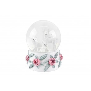 Large Snow Globe 13cm - White Deer/Red Roses