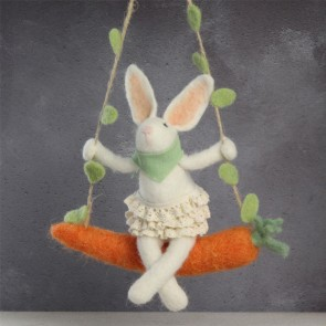 Bunny On Carrot Easter Decoration