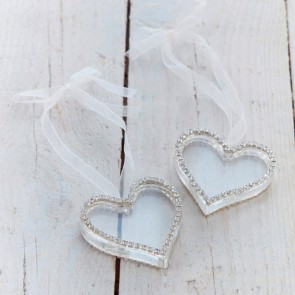 Diamante Glass Heart Decoration