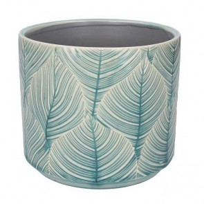 Medium Blue Leaf Ceramic Pot Cover