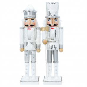Set of 2 Large Nutcracker Soldiers 37cm - White & Silver