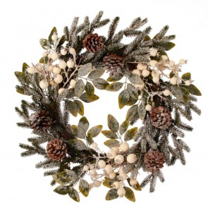 Frosted White Berry & Cone Wreath