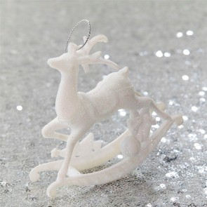 White Glitter Rocking Reindeer Christmas Tree Decoration - Set of Three