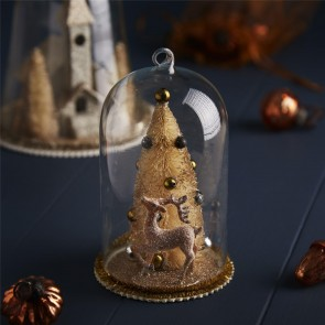 Glass Christmas Dome with Gold Reindeer