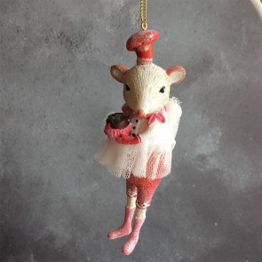 Ballerina Mouse With Christmas Pudding