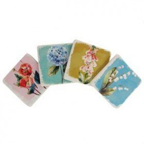 Floral Paint Swatch Design Coasters