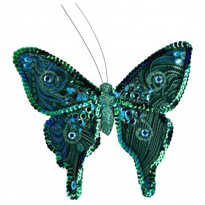 Clip-on Butterfly 19cm - Peacock Fabric/Sequin