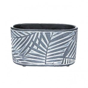 Dark Grey Palm Design Oval Concrete Pot Cover
