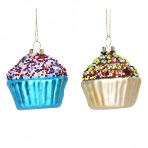 Set of 2 Glass Cupcake Christmas Tree Decorations, 6cm