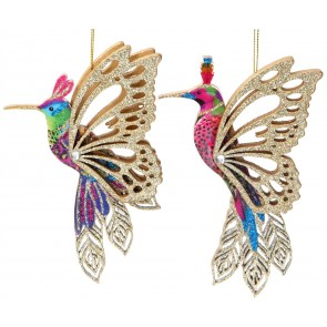 Set of 2 Wooden Decorations 13cm - Hummingbird with Fretwork Wings