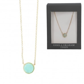 Blue Round Stone Gold Coloured Necklace