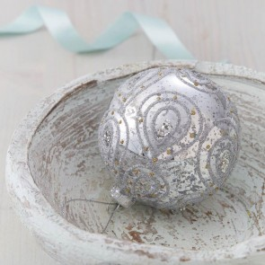 Silver Paisley Christmas Bauble