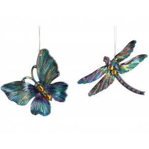 Set of 2 Acrylic Decorations 12cm - Peacock Butterfly/Dragonfly