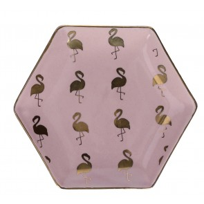 Pink & Gold Flamingo Plate