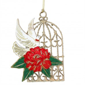 Wood Fretwork 13cm - Doves/Roses Birdcage