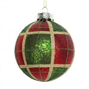 Glass Bauble 8cm - Red/Green Plaid