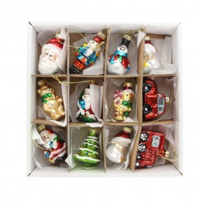 Box of 12 Mini Painted Glass Christmas Tree Decorations, 4.5cm