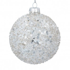 Glass Bauble 8cm - Silver Crushed Sequin