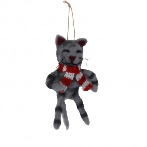 Wool Cat with Scarf Christmas Decoration