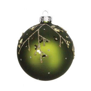 Forest Green Bauble With Gold Sequin Twigs