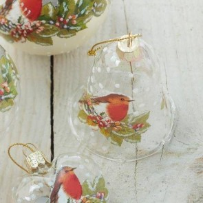 Clear Bell With Robin Decoration