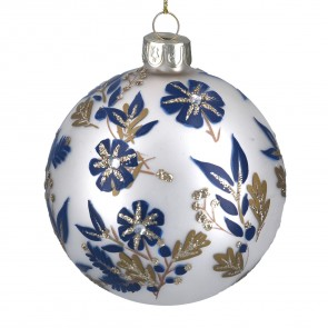 Matt White Bauble With Blue & Gold Flowers