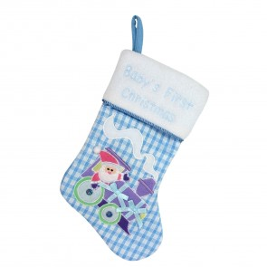 Blue Baby's First Christmas Stocking