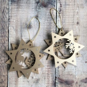 Metalic Woodland Star Christmas Decorations - Set Of Two