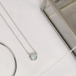 Blue Round Stone Silver Coloured Necklace