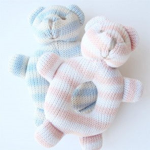 Stripe Knitted Bear Rattle